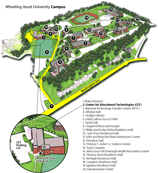 Image showing the Wheeling Jesuit University campus map.