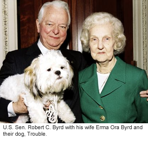 An image of U.S. Sen. Robert C. Byrd, his wife Erma Ora, and their dog Trouble.