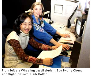 left are Wheeling Jesuit student Soo Kyung Chung and flight instructor Barb Colton.