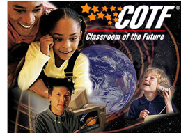 Image of some students working at the Classroom of the Future - COTF.