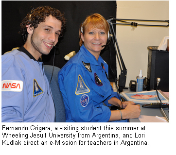Fernando Grigera, a visiting student this summer at Wheeling Jesuit University from Argentina, and Lori Kudlak direct an e-Mission for teachers in Argentina.
