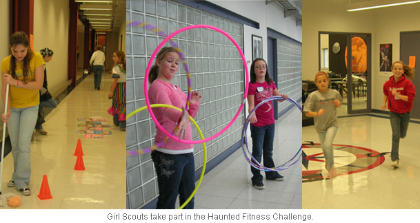 An image of Girl Scouts taking part in the Haunted Fitness Challenge