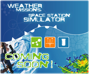 An image that reads, space station simulator weather missions coming soon