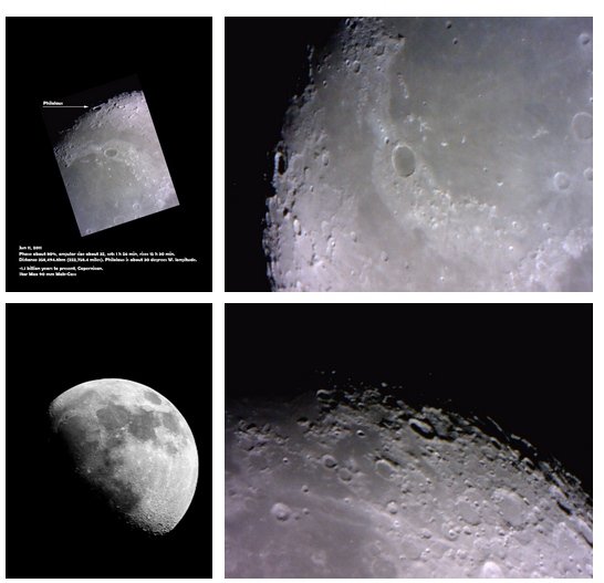 Images taken with CyGaMEs $200 telescopes and $100 camera allow MoonGazers to explore the Moon.