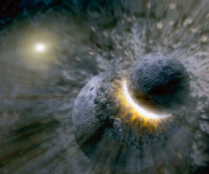 Image showing a collision between planetary bodies.